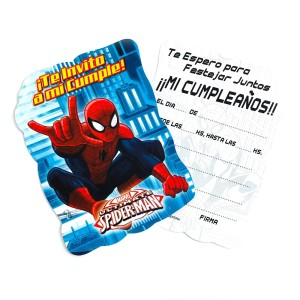 INVITACION TROQUELADA SPIDERMAN x 10 U.